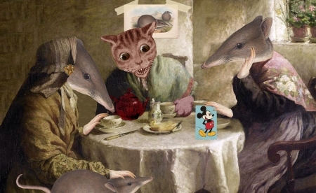 Housewarming Party - fantasy, mouse, party, funny, pisici, cat, vikki truver, art, year of the rat, rat