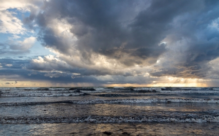 Clouds over Sea - nature, clouds, sea, sunbeams, Latvia, waves