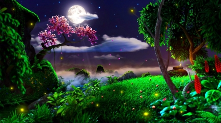 Moonlite Display - moon, light, hills, forest, rolling, bright