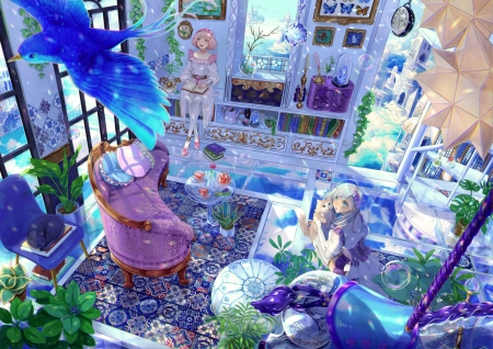 Blue Room - fantasy, original, indoor, anime, girls, room, sky, blue
