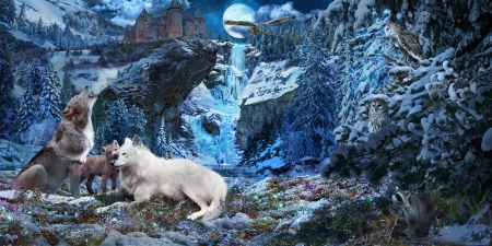 Wolves - art, owl, luminos, luna, dmitry brushray, animal, cute, fantasy, moon, lup, cub, wolf, white, blue