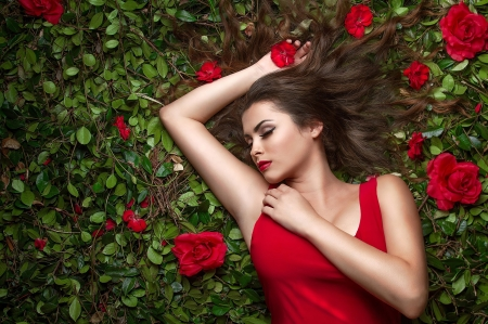 Beauty - red, green, rose, model, girl, summer, flower, woman, vara