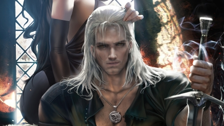 Geralt de Rivia - geralt, sakimichan, man, the witcher, fantasy
