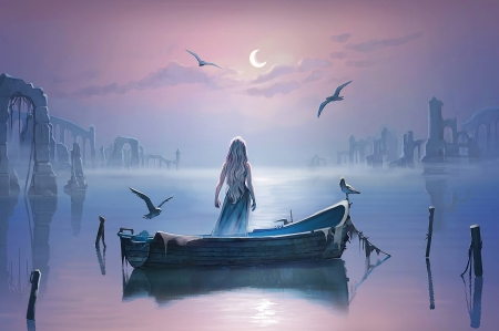 Lost kingdom - art, luminos, game of thrones, vara, fantasy, boat, water, lost kingdom, girl, bird, daenerys targaryen, radittz, summer, pink, blue