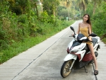 Leona Mia on her Motorcycle