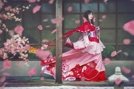 Beauty - red, model, girl, wind, asian, petals, woman, pink