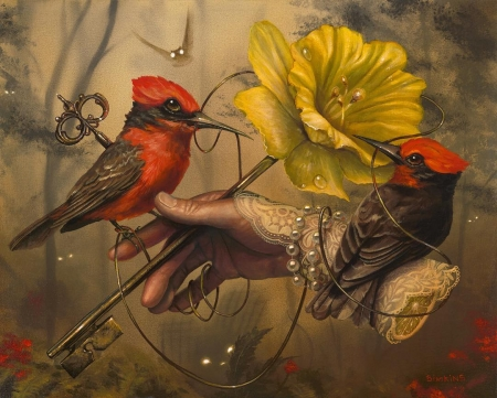 Key - bracelet, art, red, frumusete, luminos, yellow, key, pearl, fantasy, bird, greg simkins, flower, hand, pasari, surreal