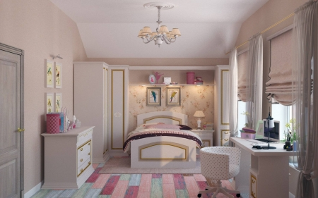 Girl's Room - interior, room, pink, bed