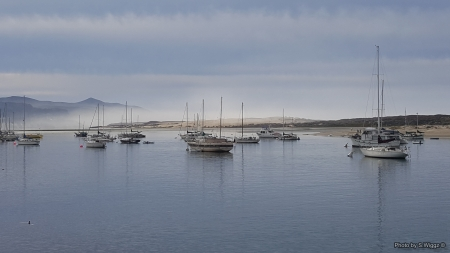 Fog @ Morro Bay, California - Clouds, Sky, Morro, California, Boats, Fog, Bay, Reflections, Water, Mountains