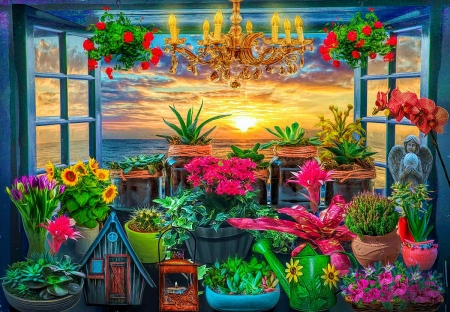 Seaside Garden View - angel, flowers, sunset, sky, sea, art, lamp, sun, window, clouds, digital
