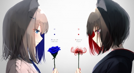 Cute Neko Flowers - pretty, red, beauitful, neko, soft, woman, cute, short hair, girl, anime, flowers, tears, beauty, anime girl, blue