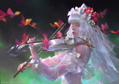 Neko Musician - lovely, dress, fantasy woman, female, violin, white hair, music, soft, butterflies, woman, abstract, sweet, cute, long hair, lady, white, beauty