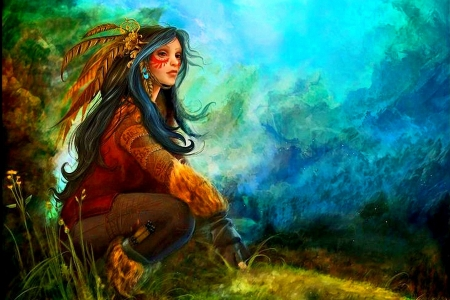 Silent Mountain - painting, native, girl, american