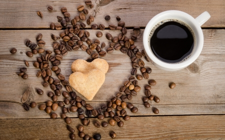 Hearty Coffee - cookies, coffee, hearts, beans, wooden
