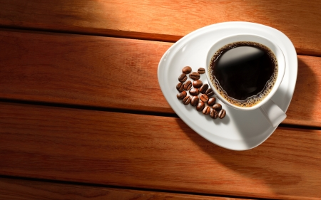 Coffee - cup, coffee, wooden, beans