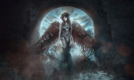 Moon Angel - stunning, Angel, moon, fantasy, wings, beautiful, unearthly