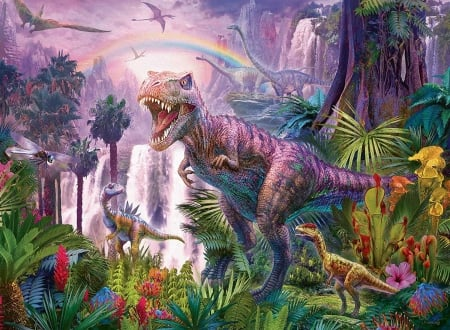 King OF the Dinosaurs - large, dinosaurs, king, creatures, puzzle, jigsaw