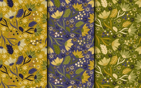 Floral Patterns - patterns, vector, green, yellow, flowers, abstract, blue