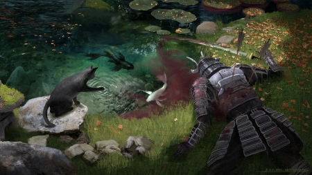 Peace and violence in an autumn day - art, autumn, frumusete, luminos, fish, barthelemy aupetit, toamna, cat, blood, armor, warrior, fantasy, water, pesti