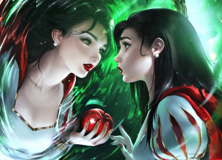 Mirror, mirror - red, apple, frumusete, luminos, snow white, sakimichan, superb, fruit, fantasy, green, girl, mirror, reflection, gorgeous