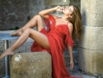 Chiara Bianchino in a Red Dress
