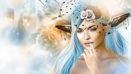 fantasy beauty - art, soft, girls, fantasy, pastels
