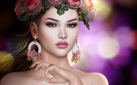 girl with earrings - girls, wreath, art, earrings, beauty, flowers