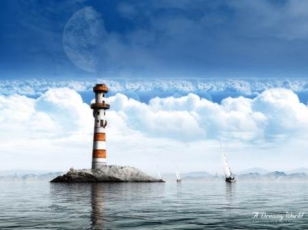 the tower - sailing, rock, tower, lighthouse, boats