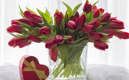 Red Tulips - glass, red, tulips, heart, gift