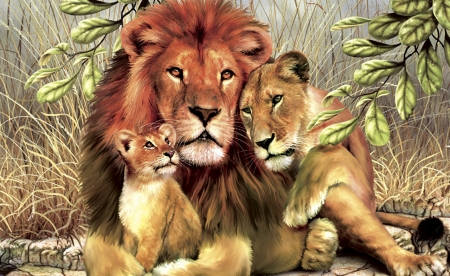 Family - nature, cats, animals, lion, abstract