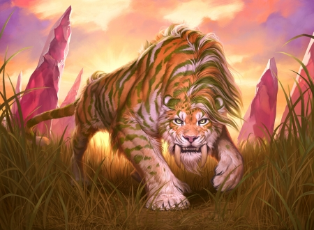 Savannah Sabertooth - art, ilse gort, fantasy, luminos, orange, tiger, pink, animal, sabertooth
