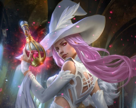 Transformed Witch of the North - luminos, girl, pink, white, hat, north, witch, frumusete, legend of the cryptids, polar engine, fantasy