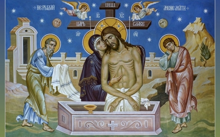 Pieta - tomb, death, Christ, Pieta, saints, angels, Jesus, Mary, cross