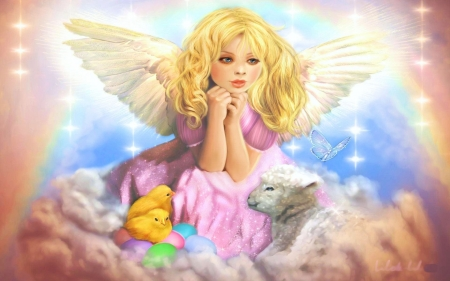 Easter Angel - wings, rabbit, butterfly, girl, chicken, digital, artwork