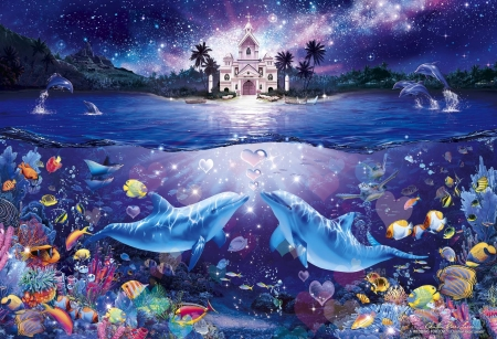 ♥ - art, fish, luminos, sea, christian riese lassen, water, dolphin, vara, pesti, love, summer, pictura, castle, night, couple, blue, painting