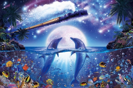 Fantasy - art, fish, luna, luminos, christian riese lassen, sea, moon, fantasy, dolphin, water, pesti, train, summer, night, couple, blue, vara
