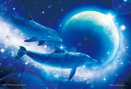 Glowing in the dark - art, glow, luna, christian riese lassen, vara, fantasy, dolphin, water, moon, summer, painting, pictura, couple, blue