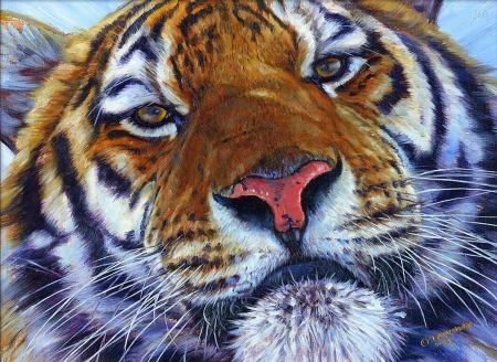Face to face - john banovich, art, painting, tigru, tiger, face, pictura