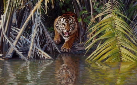 Tiger - leaf, john banovich, water, green, jungle, tigru, tiger, animal