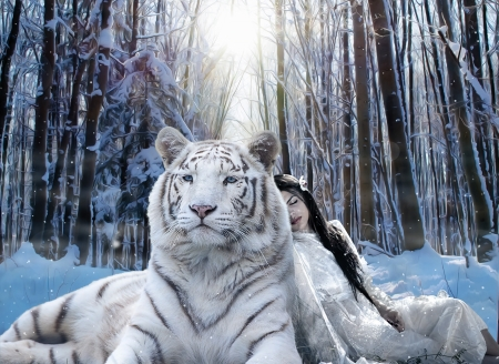 ♥ - forest, luminos, tiger, animal, winter, iarna, tree, fantasy, girl, snow, tigru, white, blue