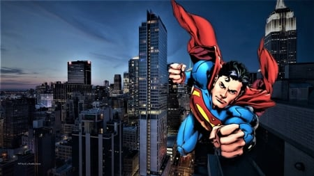 Superman Over The City Wallpaper Other Anime Background Wallpapers On Desktop Nexus Image 2549056