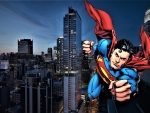 Superman Over The City  Wallpaper