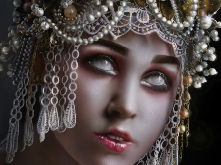 Blind and precious - art, frumusete, pearl, fantasy, luminos, face, jewel, nguyen thom, white