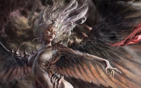 Devil bird - art, mansik yang, fantasy, demon, wings, bird, girl, devil, creature