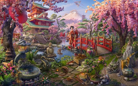Japan - cherry blossom, tree, fantasy, japan, girl, asian, garden, chinese, pink, red, superb, bridge, gorgeous, sakura, frumusete, abgames, ab games, luminos, spring, kimono, water, stuff