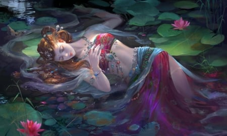 Dream Girl - art, fantasy, girl, dreaming, resting, digital, sleeping, woman, beautiful