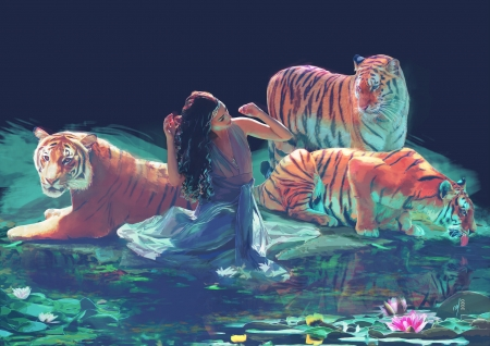 Feral - tiger, tigru, blue, animal, art, luminos, orange, juliette grimaldi, fantasy, vara, girl, summer