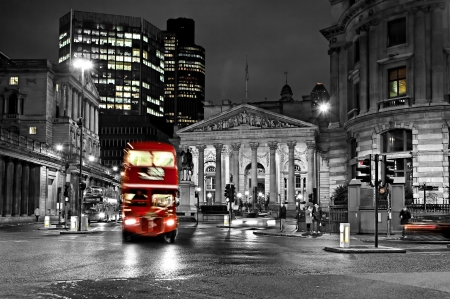 Evening London - Houses, Bus, London, Evening, Lights