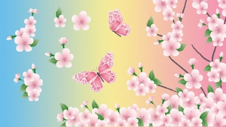 Pink Blue Yellow - pink, cherry blossoms, blue, Firefox theme, sakura, sping, butterflies, pastels, soft, gradient, green, flowers, nature