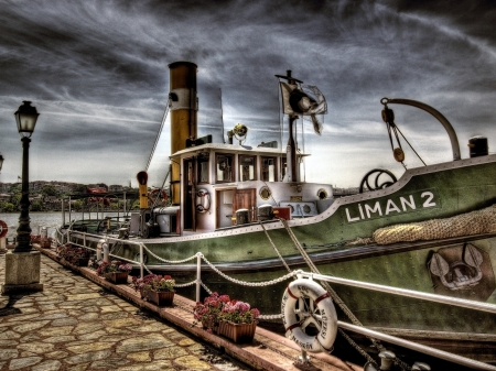 the old fishing boat - ship, old, boat, dock, sky, light